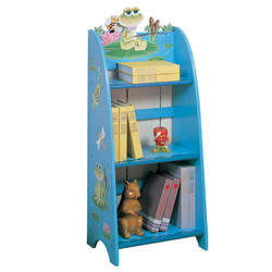 Frog frog and frog again What would bedtime be without a story Thankfully one is close at hand This sea blue hand painted bookcase featuring little Froggy and a dragonfly will be home for everything from books to toys  Hand painted