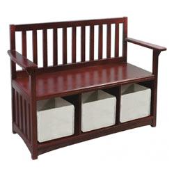 Classic Espresso Storage Bench with Bins