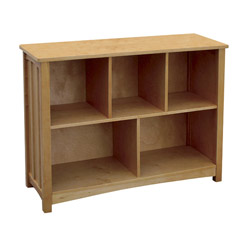 Beautiful and Practical This mission style bookshelf with a honey oak stain is a great furniture piece for any room  The large storage space is perfect for games toys and books  The set middle shelf finished back panel and a sturdy wood construction makes this bookshelf one to last for years of good use