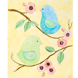 Green Frog Art Love Birds
