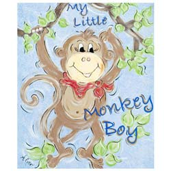 Green Frog Art Little Monkey Boy Wall Art