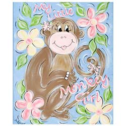 Green Frog Art Little Monkey Girl Wall Art