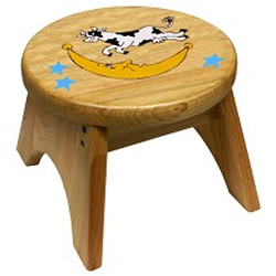 Cow Jumped Over the Moon Wooden Stool