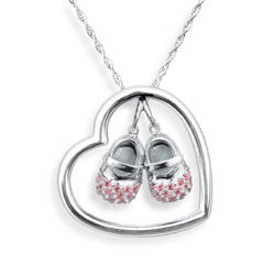 Sterling Silver Baby Shoe Necklace
