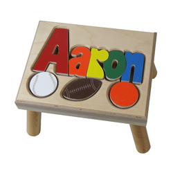 Sports Puzzle Name Stool- 2 Names