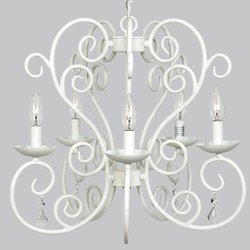 Jubilee White Carriage 5 Arm Chandelier