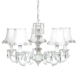 Jubilee White Glass Turret Chandelier