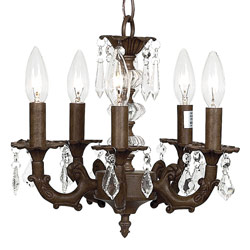 Jubilee Mocha 5 Arm Glass Ball Chandelier