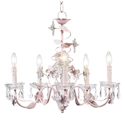 Jubilee Pink 5 Arm Crystal Flower Chandelier