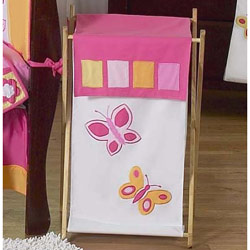 Butterfly Pink and Orange Laundry Hamper