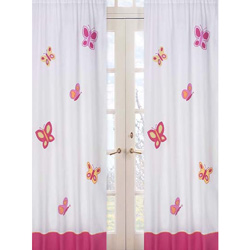 Butterfly Pink and Orange Window Panels