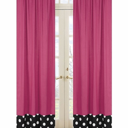 Hot Dot Pink Window Panels