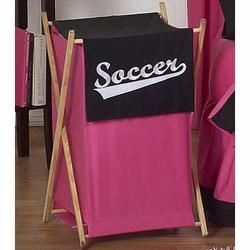 Soccer Pink Laundry Hamper