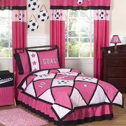 Soccer Pink Twin/Full Bedding Set