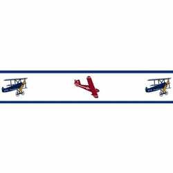 Vintage Airplane Wallpaper Border