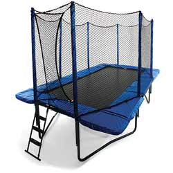 Great Bounce  Our 10 x 17 Rectangular Trampoline is ideally suited for situations where space is at a premium Its narrow profile makes it a good choice for side yard installations The rectangular shape is preferred by some gymnasts to simulate their training environment Whatever your reason the sturdy design of the 10 x 17 Rectangular Trampoline will provide years of jumping pleasure   Mat is 40H for better ground clearance Bed has UV shield Overlapping Entry to prevent fall out High strength looped straps and steel V rings for connecting the springs The SpringFrame pad is blue in color High density closed cell foam padding across the entire pad surface 108 High-Performance Springs Maximum single-user weight rating up to 225 lbs  Real world testing to a combined weight of over 800 lbs