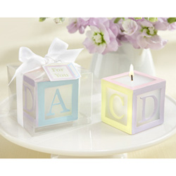 Kate Aspen Lettered Baby Block Candle (Set of 4)