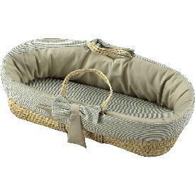 Baby Doll Khaki Seersucker Gingham Moses Basket