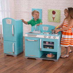 Blue Retro Kitchen and Refrigerator