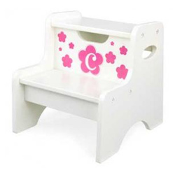 Floral Initial Two Step Stool