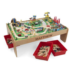 KidKraft Personalized Train Table & 120 Piece Mountain Set