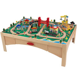 KidKraft Natural Train Table with 120-Piece Train Set