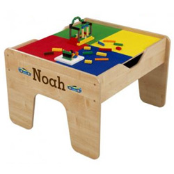 KidKraft Personalized Natural 2 in 1 Lego and Train Activity Table