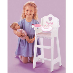 Personalized White Doll Highchair with Pink Gingham Trim