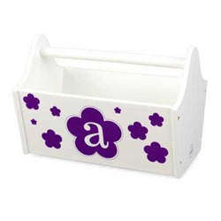KidKraft Floral Initial Toy Caddy- White