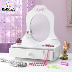 Personalized White Table Top Vanity