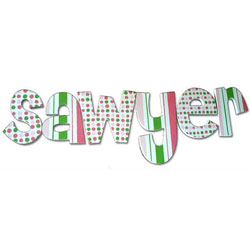 Pink and Green Confetti Wall Letters