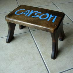 Personalized Dark Walnut Stool