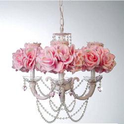 3 Arm Crystal Rose Chandelier
