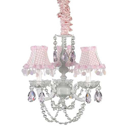 3 Arm Pink and White Chandelier