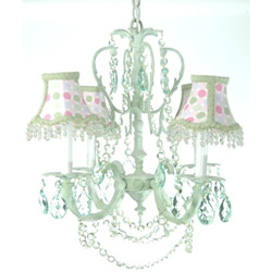 4 Arm Shabby Dots Green Crystal Chandelier