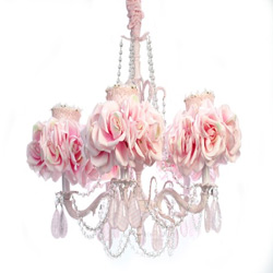 5 Arm Pink Rose Chandelier