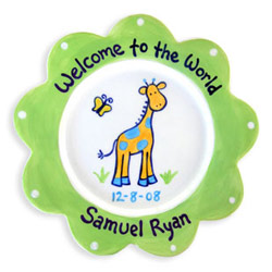 Little Worm And Company Giraffe Birth Plate
