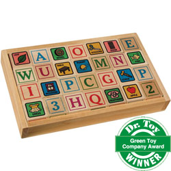 Wooden ABC Blocks with Tray