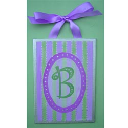 Purple and Green Canvas Wall Letters