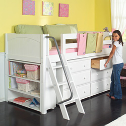 low loft bed with storage