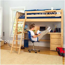 High Loft Bed with Desk and Chest