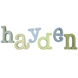 Blue and Green Fabric Letters