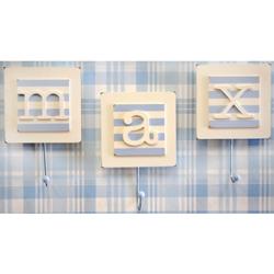 Blue Monogram Wall Hooks (Set of 2)