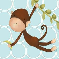 Hanging Monkey Stretched Art- Powder Blue