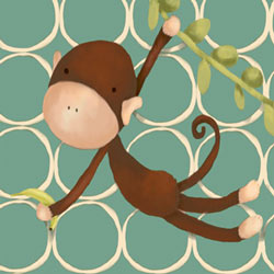 Hanging Monkey Stretched Art- Green