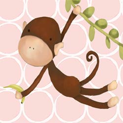 Hanging Monkey Stretched Art- Pink