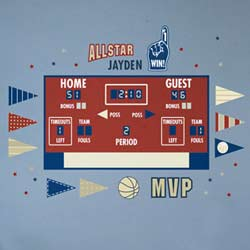 Basketball Athlete Scoreboard Wall Decal