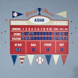 Baseball Athlete Scoreboard Wall Decal