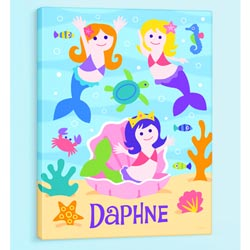 Olive Kids Mermaids Personalized Canvas Art