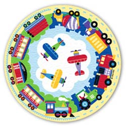 Olive Kids Trains, Planes and Trucks Round Rug